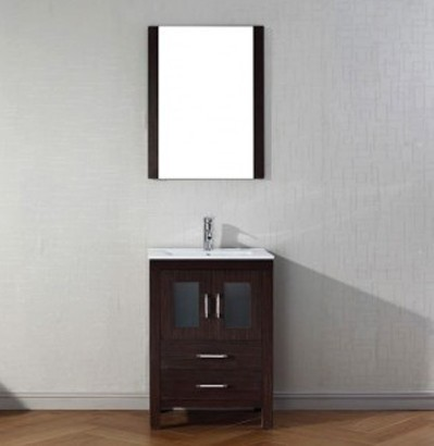 "Virtu USA 24"" Dior SINGLE Sink Bathroom Vanity Set in Espresso with Ceramic Countertop Integrated Sink KS-70024-C-ES"