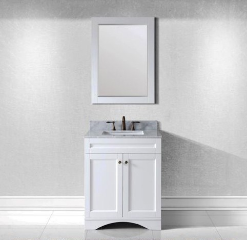 "Virtu USA 30"" Elise SINGLE Square Sink Bathroom Vanity in White with Italian Carrara Marble Top ES-32030-WMSQ-WH-002"