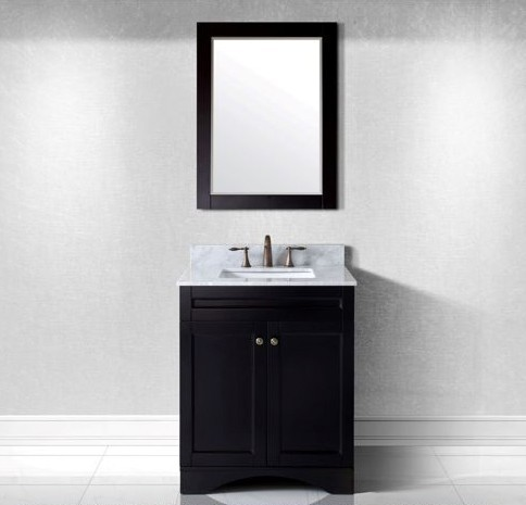 "Virtu USA 30"" Elise SINGLE Square Sink Bathroom Vanity in Espresso with Italian Carrara Marble Top ES-32030-WMSQ-ES-002"