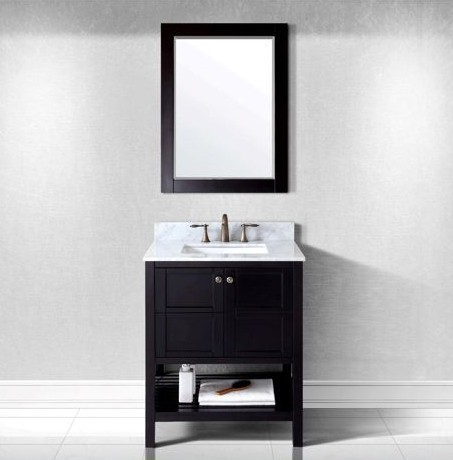 Virtu USA 30 Inch Winterfell Square Sink Vanity in Espresso with Italian Carrara Marble Top