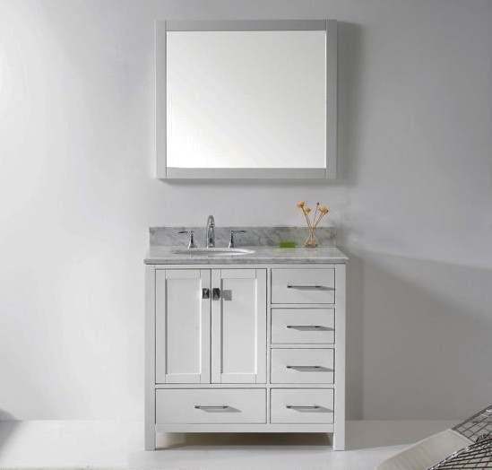 Virtu USA 36 Inch Caroline Avenue Bathroom Vanity White With Italian  Carrara White Marble