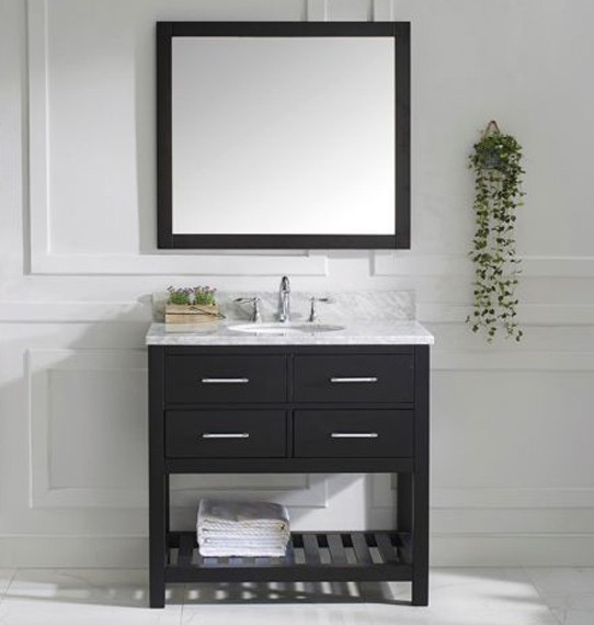 "Virtu USA 36"" Caroline Estate SINGLE Round Sink Vanity Italian Carrara White Marble MS-2236-WMRO-ES-002"