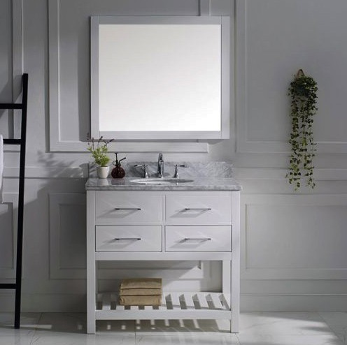 "Virtu USA 36"" Caroline Estate SINGLE Round Sink Bathroom Vanity Set in White with Italian Carrara White Marble Countertop and Full Framed Mirror MS-2236-WMRO-WH-002"