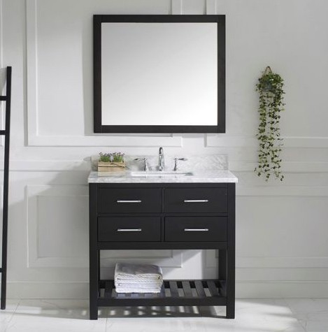 "Virtu USA 36"" Caroline Estate SINGLE Square Sink Bathroom Vanity Set Italian Carrara White Marble MS-2236-WMSQ-ES-002"