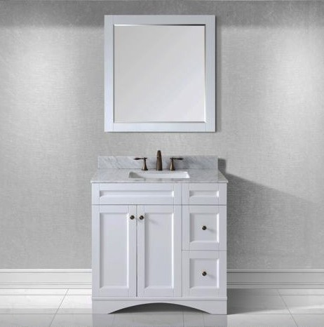 "Virtu USA 36"" Elise SINGLE Square Sink Bathroom Vanity in White with Italian Carrara Marble Top ES-32036-WMSQ-WH-002"