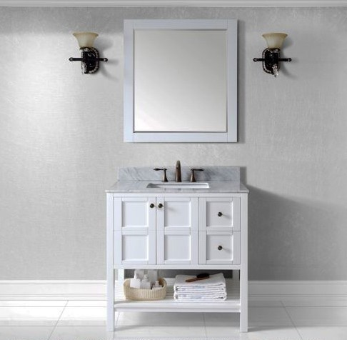 "Virtu USA 36"" Winterfell SINGLE Square Sink Bathroom Vanity in White with Italian Carrara Marble Top ES-30036-WMSQ-WH-002"