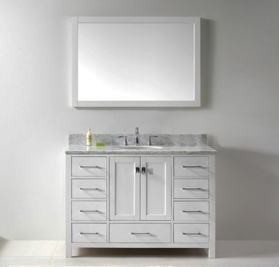 "Virtu USA 48"" Caroline Avenue SINGLE Round Sink Bathroom Vanity in White with Italian Carrara White Marble GS-50048-WMRO-WH-002"