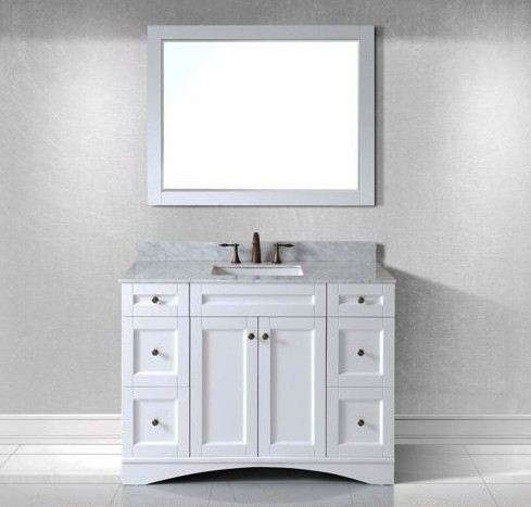 Virtu Usa 48 Elise Single Square Sink Bathroom Vanity In White With Italian Carrara Marble