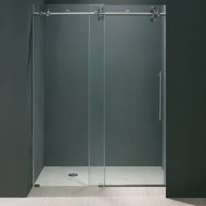 Vigo 48 Inch Frameless Shower Door 3/8 Inch Clear Glass with Stainless Steel Hardware VG6041STCL4874