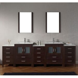 Virtu USA 110 Inch Dior BATHROOM VANITIY Espresso with Ceramic Countertop Integrated Sinks