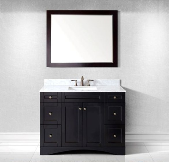 "Virtu USA 48"" Elise SINGLE Square Sink Bathroom Vanity in Espresso Italian Carrara Marble Top ES-32048-WMSQ-ES-002"