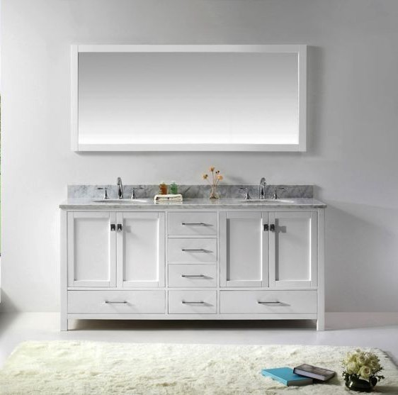 Double bathroom vanity in White Virtu USA 72 Inch Caroline Avenue Italian Carrara White Marble