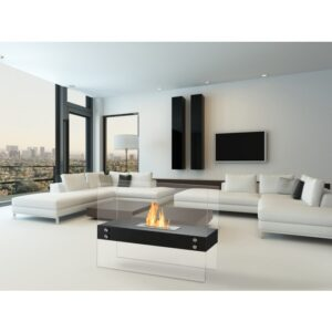 Vitrum H Black Series - Freestanding Ethanol Fireplace