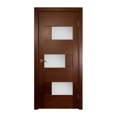 DOMINIKA Interior Single Door, Wenge Veneer, Contemporary Design with Glass Inserts