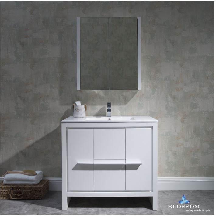 Blossom Milan 36 Inch Glossy White Vanity Medicine Cabinet