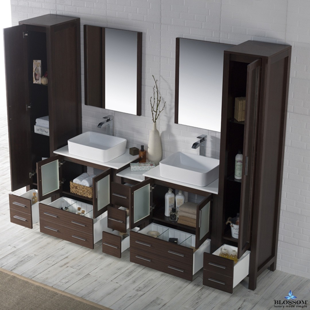 Blossom 102 Inch Sydney Double Bathroom Vanity Set Color Venge With Vessel Sink