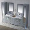Blossom Bathroom Vanity Sydney 102 inch in Metal Grey - Double 1915 Vessel - Mirror Linen Cabinets-3