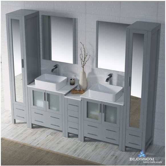 Blossom Bathroom Vanity Sydney 102 inch in Metal Grey - Double 1915 Vessel - Mirror Linen Cabinets-3