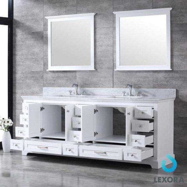 Dukes 84 Inc Double Vanity Color White Top White Carera Marble Top _