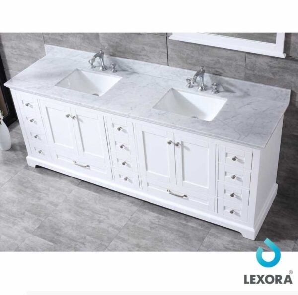 Dukes 84 Inc Double Vanity Color White Top White Carrera Marble Top _