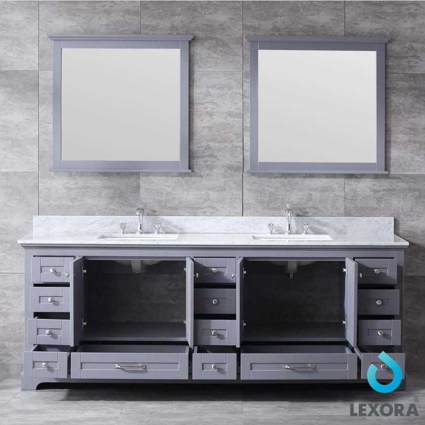 size 40 e13a3 ee654 Lexora Dukes 84 Inch Double Vanity Dark Grey, White Carrera Marble Top