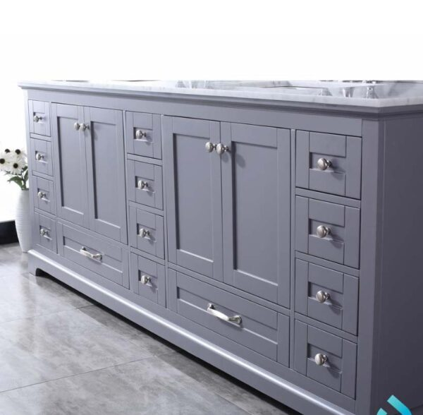 Dukes 84 Inch Double Vanity Dark Grey, White Carrera Marble Top, White Square Sinks and 34 Inch Mirrors _