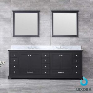 Dukes 84 Inch Double Vanity Espresso, White Carrera Marble Top, White Square Sinks and 34 Inch Mirrors