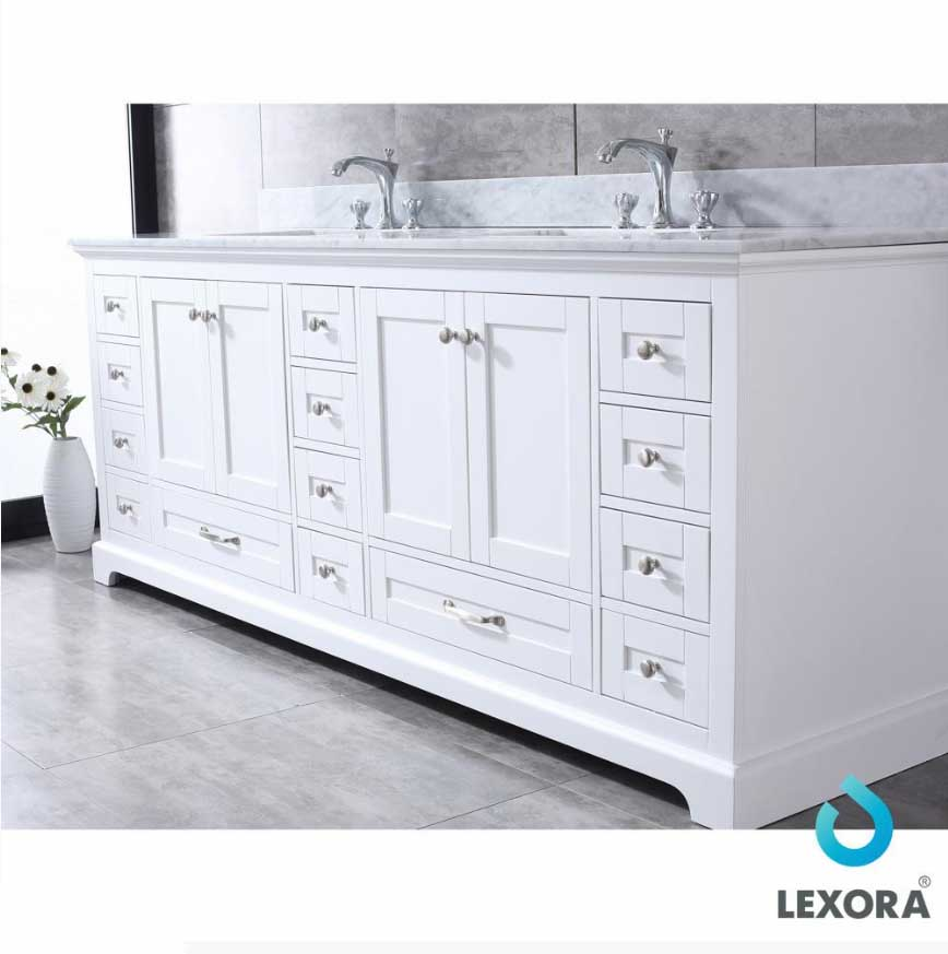 Lexora ️dukes 84 Quot White Double Bath Vanity White Carrera