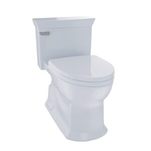 TOTO MS964214CEFG Eco Soiree Elongated One Piece Toilet with Chrome Plated Sanagloss Cotton White