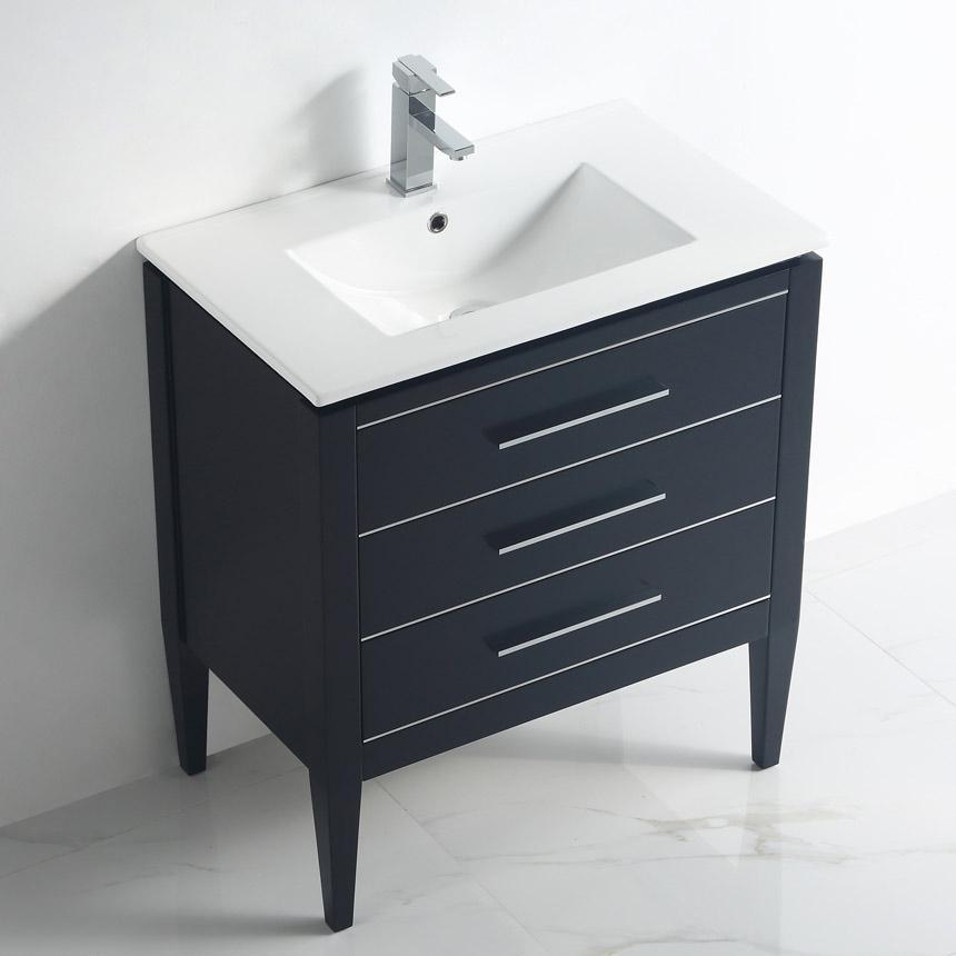 Dowell 30 Inch Bathroom Cabinet Model Model 031 30 0205 Matt Black with Chrome Handle