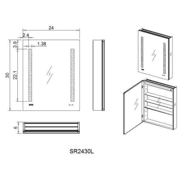 AQUADOM Royal Basic 24 inch to 30 inch Left Hinges LED Medicine Cabinet With Dimmer
