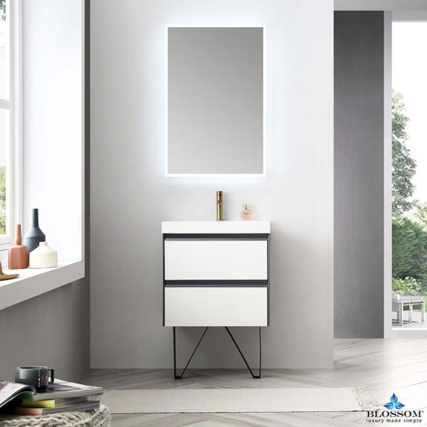 Blossom BERLIN 24 Inch Wall Mount Bathroom Vanity color Glossy White & Glossy Grey
