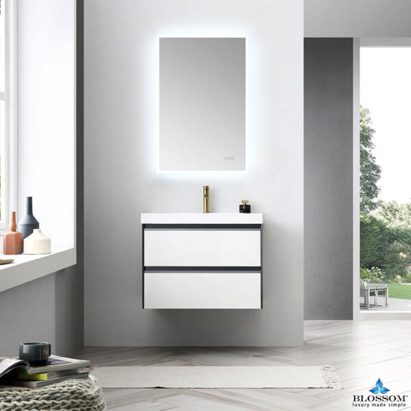 Blossom BERLIN 30 Inch Wall Mount Bathroom Vanity Glossy White & Glossy Grey