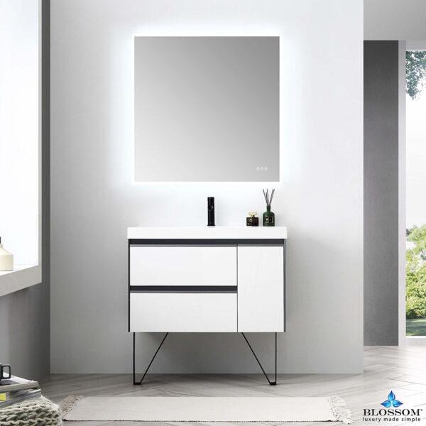 Blossom BERLIN 36 Inch Wall Mount Bathroom Vanity Glossy White & Glossy Grey