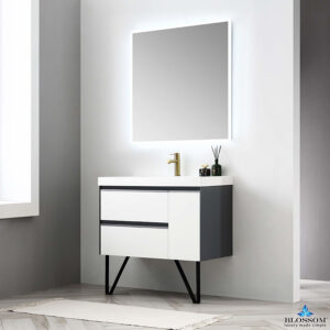 Blossom BERLIN 36 Inch Wall Mount Bathroom Vanity Glossy White & Glossy Grey