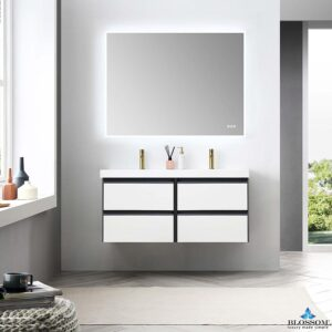Blossom BERLIN 48 Inch Double Wall Mount Bathroom Vanity Glossy White & Glossy Grey