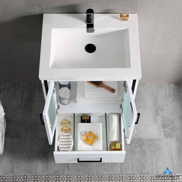 Blossom BIRMINGHAM 24 Inch Bathroom Vanity Color Glossy White Acrylic Top _