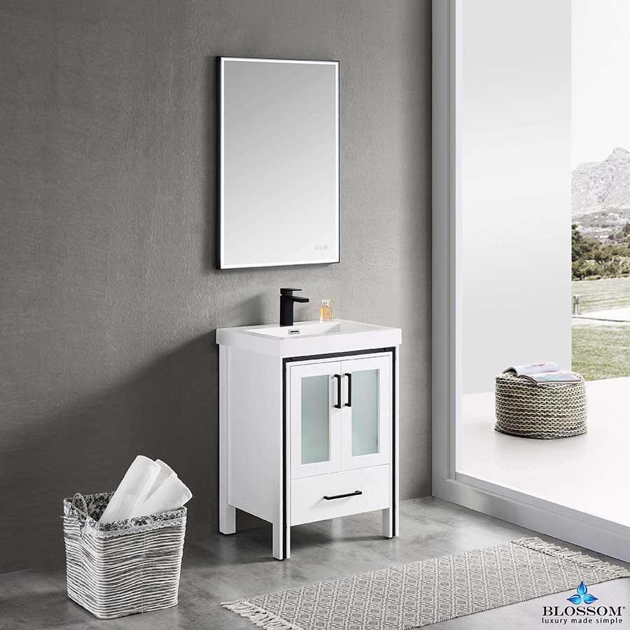 Blossom BIRMINGHAM 24 Inch Bathroom Vanity Color Glossy White Acrylic Top