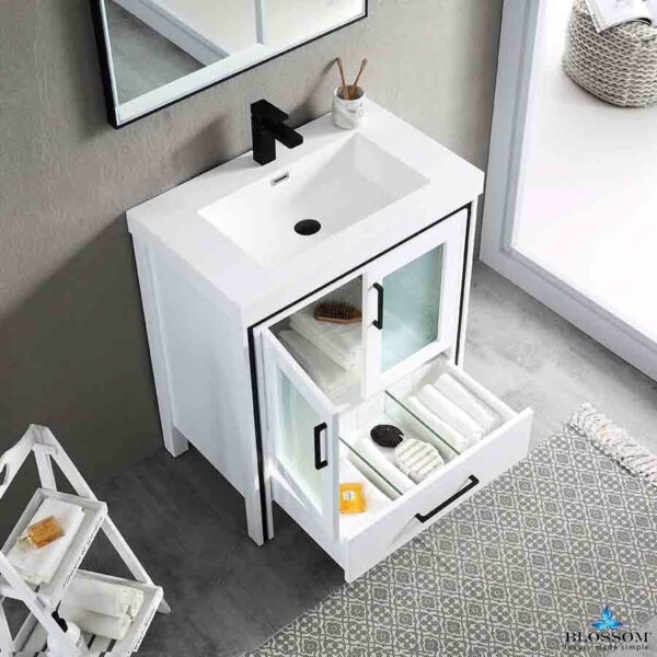 Blossom BIRMINGHAM 30-Inch Freestanding Bathroom Cabinet Acrylic Top Color Glossy White