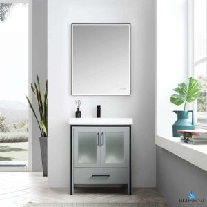 Blossom BIRMINGHAM 30 In Freestanding Bathroom Cabinet Acrylic Top Color Matte Grey