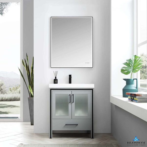 Blossom BIRMINGHAM 30 In Freestanding Bathroom Cabinet Acrylic Top Color Matte Grey