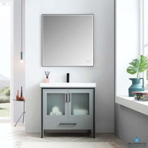 Blossom BIRMINGHAM 36-Inch Freestanding Bathroom Cabinet Acrylic Top Color Matte Grey