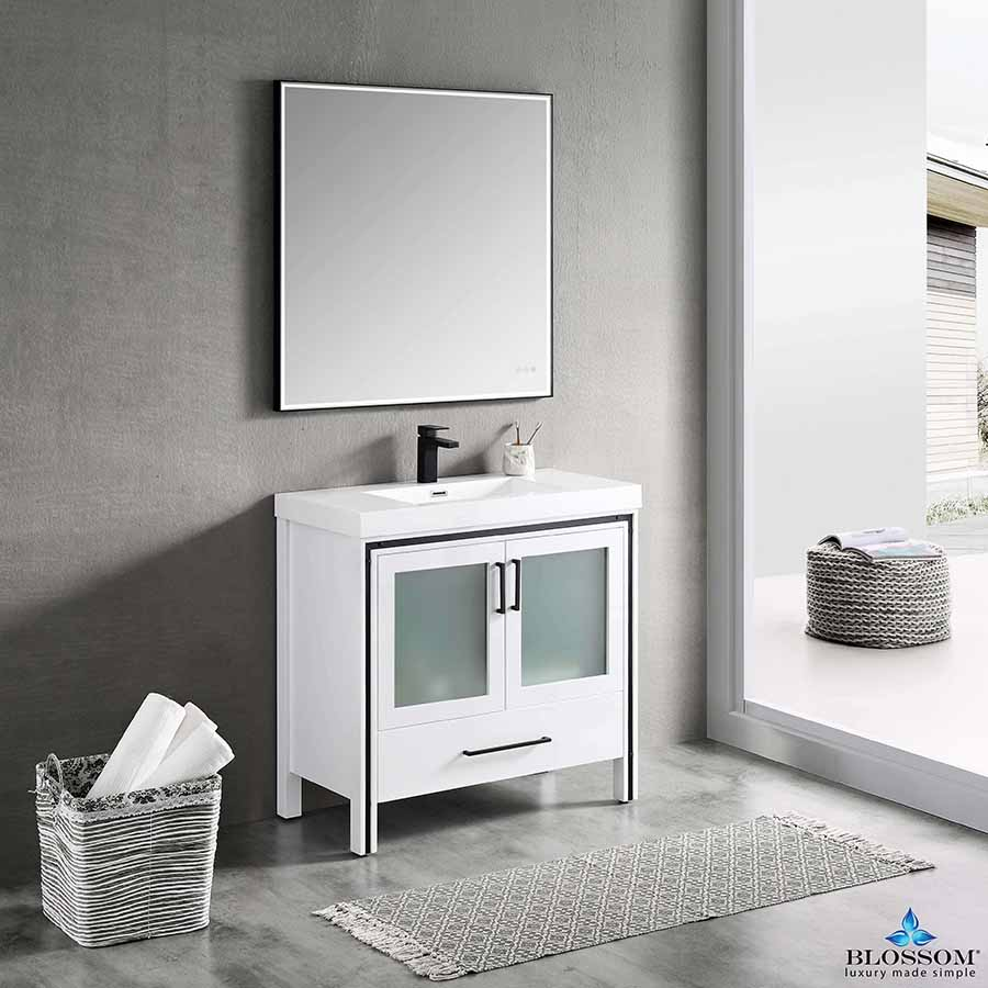 Blossom BIRMINGHAM 36-Inch Freestanding Cabinet Color Glossy White Acrylic Top