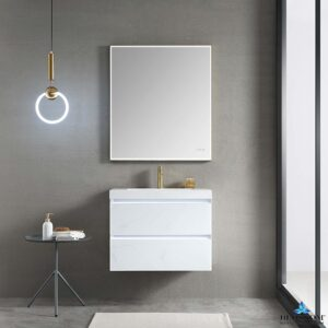 Blossom JENA 30 Inch Wall Mount Bathroom Vanity Color Calacatta White LED Strip Lights