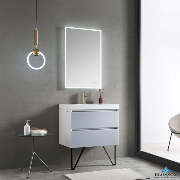 Blossom JENA 30 Inch Wall Mount Bathroom Vanity Light Grey LED Strip Lights _