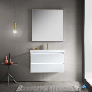 Blossom JENA 36 Inch Floating Bathroom Vanity Color Calacatta White With LED Strip Lights
