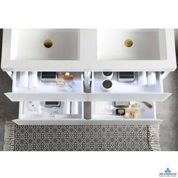 Blossom JENA 48 Inch Floating Double Bathroom Vanity Color Calacatta White With LED Strip Lights