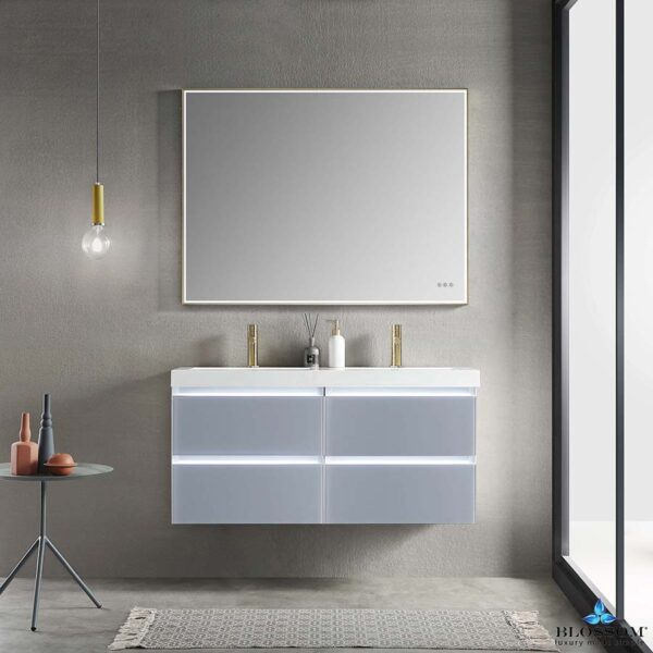 Blossom JENA 48 Inch Floating Double Bathroom Vanity Color Light Grey With LED Strip Lights