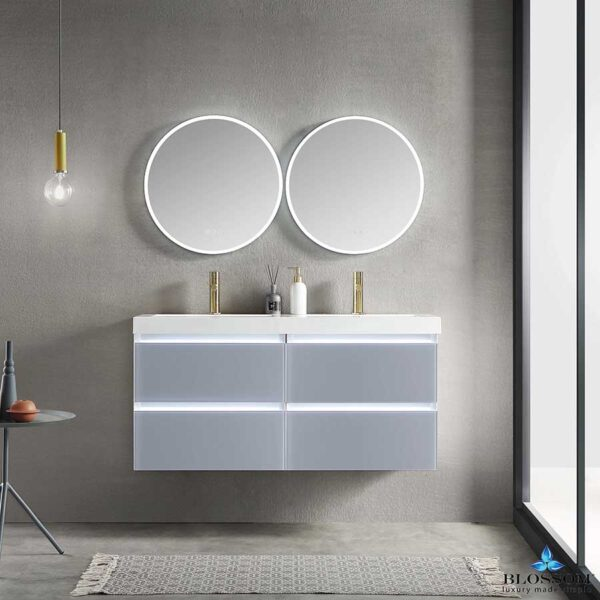 Blossom JENA 48 Inch Floating Double Bathroom Vanity Color Light-Grey With LED Strip Lights