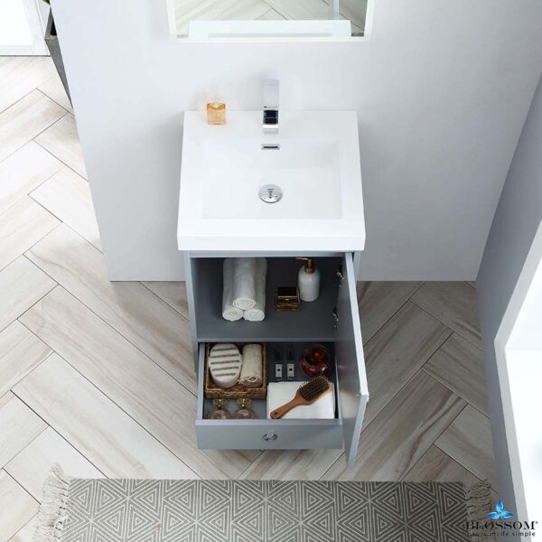 Blossom LYON 20 Inch Bathroom Vanity Metal Grey